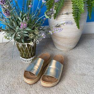 Charles David Bustle gold platform sandals